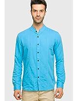Aqua Blue Linen Regular Fit Casual Shirt Status Quo