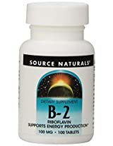 Source Naturals Vitamin B-2 100mg, 100 Tablets (Pack of 2)