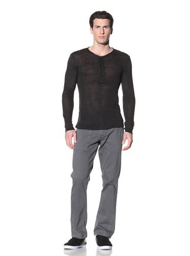Hip and Bone Men's Linen Long Sleeve Shirt (Black)