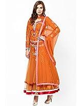 Embroidered Orange Anarkali Parul Grover