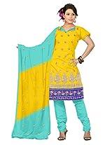 vardhman Yellow Chanderi Straight Dupata Work Dressmaterial Suit.