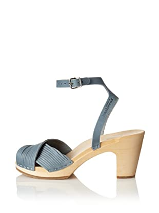 Swedish Hasbeens Women's Strappy Sandal (Blue Nubuck)