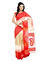 B3Fashion Handloom Traditional handwoven soft Beige coloured Tussar silk saree