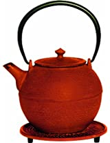 G&H Tea Services Kyoto Japanese Tetsubin 28-Ounce Teapot and Trivet, Red