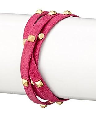 gorjana Pink Graham Sunset Leather Pyramid Stud Triple Wrap