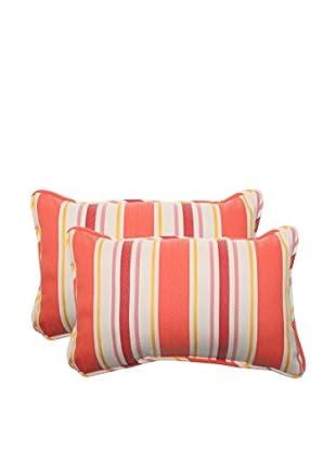 Pillow Perfect Set of 2 Indoor/Outdoor Cayman Sunset Lumbar Pillows, Orange