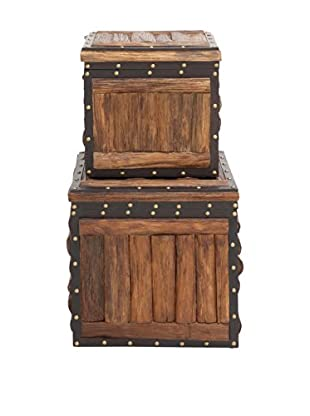 Set of 2 Wooden Trunks With Leather Embellishment