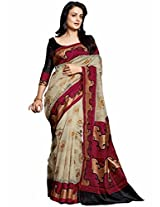 Gini Gold Designer Bhagalpuri saree with blouse piece