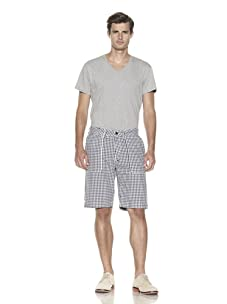 J.C. Rags Men's Washed Gingham Shorts (Mechanic Blue)