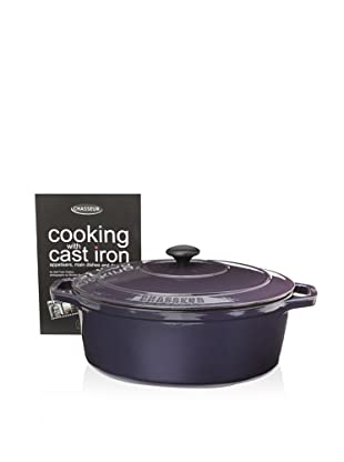 Chasseur Oval Cast Iron Casserole with Lid (Eggplant)