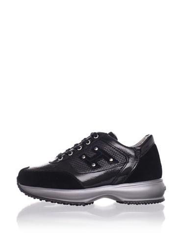Hogan Kid's Studded Logo Sneaker (Black)