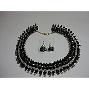 Mona Jewels Black And Silver Crystal Netted Choker Necklace With Jhumka Earrings