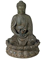 Meditating Buddha Antique Bronze LED Lighted Fountain