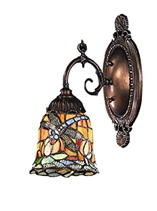 Artistic Lighting Mix-N-Match 1-Light Tiffany LED Dragonfly Wall Sconce, Bronze