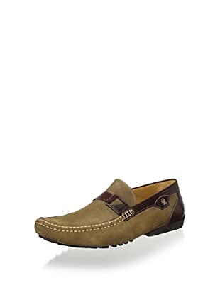 Mezlan Men's Slip on Driver with Strap and Buckle (Olive/Brown)