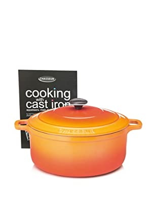 Chasseur Round Cast Iron Casserole with Lid (Orange Flame)