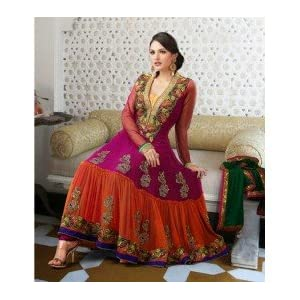 Pink & Orange Georgette with Resham,Zari,Lace Work Unstitched Anarkali Salwar Kameez Suit