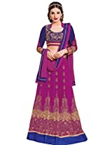 Khushali Presents Women's Multi Embroidered Semi-Stitched Lahenga With UnStitched Blouse Piece.(Purple,Neavy Blue)
