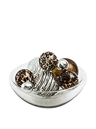 Worldly Goods Glass Bowl With 9 Glass Spheres, Chocolate/White