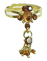 DollsofIndia Rusr and Maroon Stone Studded Jhalar Adjustable Ring - Stone and Metal - Brown