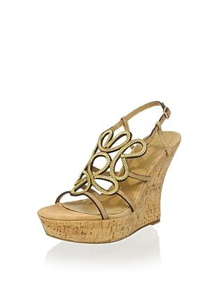 Lola Cruz Women's High Cork Wedge Sandal (Beige)