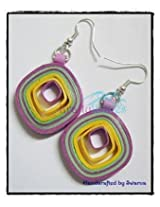 Krafty Waves Paper quilled Earrings - Light Purple, Yellow & Green