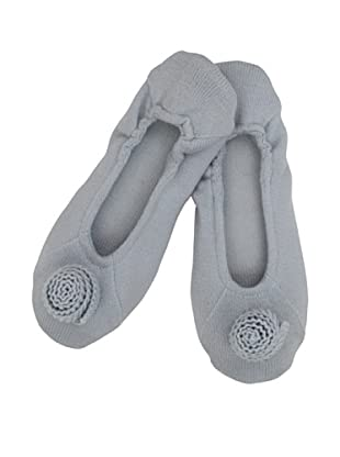 a&R Cashmere Slippers with Flower (Sky)