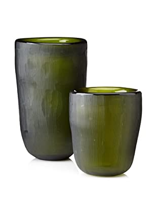 Jamie Young Set of 2 Etched Slump Vases, Olive
