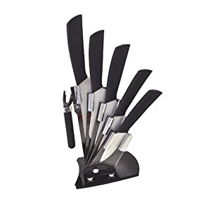 Seven-Piece Premium Ceramic Knife Set Advanced Zirconium Ceramic Blades Non-slip Handle; Include a Peeler a 3 Pairing Knife 4 Slicing Knife a 5 Utility Knife a 5 Santoku Knife a 6 Chef Knife and an Acrylic Knife Holder