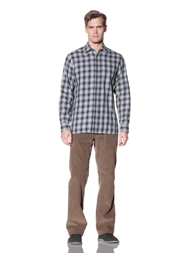 Hickey Freeman Sterling Men's Plaid Button-Up Shirt (Smoke)