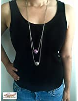 Under the Feather Layered Necklace- Silver and Lavendar Baubles