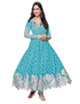 Suchi Fashion Light Blue Heavy Embroidery Georgette Party Wear Semi Stitched Anarkali Suit