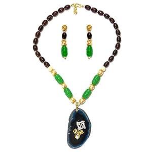 Daamak Jewellery Blue Agate Necklace Set