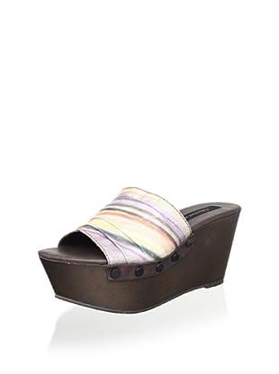 Calvin Klein Jeans Women's Cleo Platform Sandal (Multi/Dark Brown)