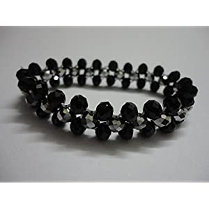 Mona Jewels Black And Silver Elastic Bracelet