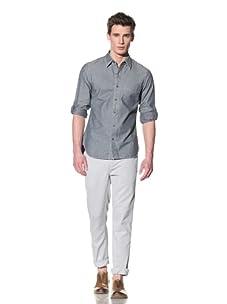 Onassis Men's Barkley Chambray Overdye Shirt (Black)