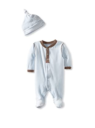 Coccoli Baby Velour Footie with Cap (Blue)