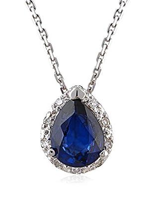 Divas Diamond Conjunto de cadena y colgante Diamond Drop Sapphire