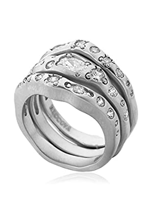 Riccova City Lights Satin Rhodium Plated Triple Stack Ring Accented with Cz's