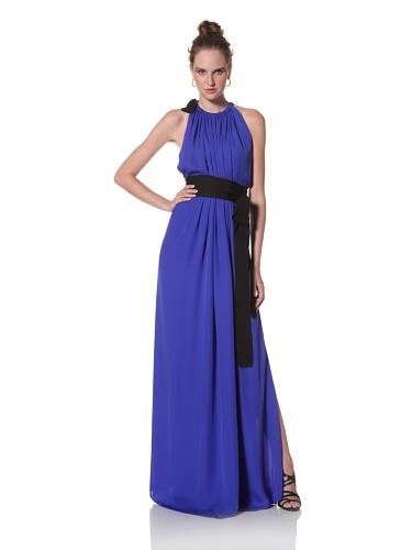 Juan Carlos Obando Women's Sleeveless Belted Long Dress (Marine Blue)