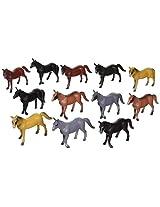 12 Horse Figures 3 to 4 Plastic NEW