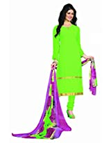 Khushali Presents Embroidered Georgette Dress Material(Parrot Green)