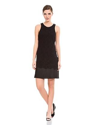 Cortefiel Vestido Encaje Y Plisado (Negro)
