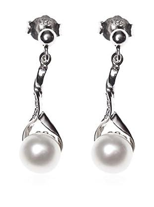 My Silver Pendientes Perla Hoja Circonita