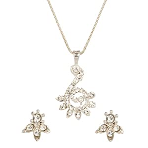 Voylla Silver Tone Smart Crystal Pendant Set With Chain
