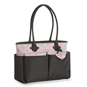 Carter's Tote Diaper Bag with Novelty Print and Matching Whimsical Luggage Tag