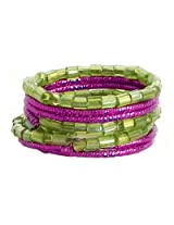 DollsofIndia Green Beaded Adjustable Ring - Beads - Green