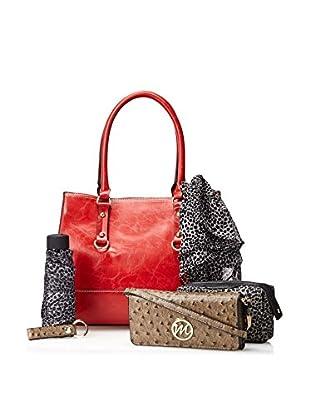 Emilie M. Women's Kimberley Shopper Tote + 5-Piece Essentials Set, Cherry Red