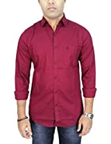 AA' Southbay Men's Crimson Red Paper Cotton Long Sleeve Solid Casual Party Shirt