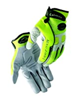 Caiman 2981-6 Extra Large Genuine American Deerskin Multi Activity Glove with Reflective Tape, Gray and Hi Viz Lime